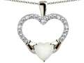 Star K™ Hands Holding Heart Created Opal Claddagh Pendant Necklace