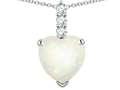 Star K ™ 8mm Heart Shaped Genuine Opal Three Stone Pendant