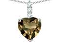 Star K ™ 8mm Heart Shaped Genuine Smoky Quartz Three Stone Pendant