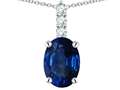 Star K ™ 8x6mm Oval Created Sapphire Three Stone Pendant Necklace