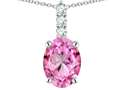 Star K ™ 8x6mm Oval Created Pink Sapphire Three Stone Pendant Necklace