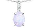 Star K ™ 8x6mm Oval Genuine Opal Three Stone Pendant Necklace
