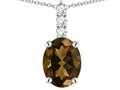 Star K ™ 8x6mm Oval Genuine Smoky Quartz Three Stone Pendant Necklace