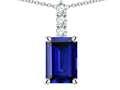 Star K ™ 8x6mm Octagon Emerald Cut Created Sapphire Three Stone Pendant Necklace