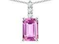 Star K ™ 8x6mm Octagon Emerald Cut Created Pink Sapphire Three Stone Pendant Necklace