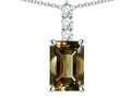 Star K ™ 8x6mm Octagon Emerald Cut Genuine Smoky Quartz Three Stone Pendant Necklace