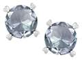 Star K(tm) Round 7mm Genuine Aquamarine Push Back Stud Earrings with Heart Prongs