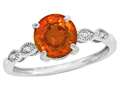 Star K™ Round 7mm Simulated Fire Opal Vintage Antique Look Engagement Promise Ring