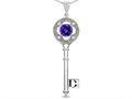 Star K (tm) Key to my Heart Clover Key Pendant Necklace with Round Genuine Amethyst