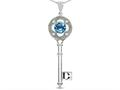 Star K (tm) Key to my Heart Clover Key Pendant Necklace with Round Genuine Blue Topaz