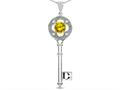 Star K ™ Key to my Heart Clover Key Pendant Necklace with Round Genuine Citrine