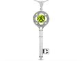 Star K (tm) Key to my Heart Clover Key Pendant Necklace with Round Genuine Peridot