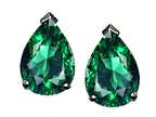 Tommaso Design Pear Shape 8x6mm Simulated Emerald Earrings Studs Style number: 25554