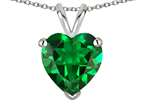 Star K  8mm Heart Simulated Emerald Pendant Necklace Style number: 25818