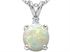 Tommaso Design 7mm Round Genuine Opal Pendant Necklace Style number: 302453