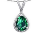 Tommaso Design Pear Shape Simulated Emerald Pendant Necklace Style number: 302468