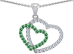 Star K Simulated Emerald Double Heart Pendant Necklace Style number: 302808