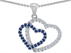 Star K Created Sapphire Double Heart Pendant Necklace Style number: 302809