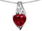 Star K Large 10mm Heart Shape Created Ruby Heart Pendant Necklace Style number: 303328