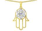 Tommaso Design Large 1.5 inch Hamsa Hand Jewish Star of David Protection Pendant Necklace Style number: 305103