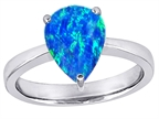 Star K Large Pear Shape Solitaire Ring with Simulated Blue Opal Style number: 305577