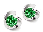 Star K Round 6mm Simulated Emerald Flower Earrings Studs Style number: 305649