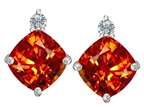 Star K 7mm Cushion Cut Simulated Mexican Orange Fire Opal Earrings Studs Style number: 306094