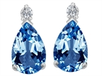 Star K 8x6mm Pear Shape Simulated Blue Topaz Earrings Studs Style number: 307264