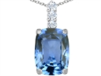 Star K Large 14x10mm Cushion Cut Simulated Aquamarine Pendant Necklace Style number: 307486
