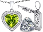Switch-It Gems 2in1 Heart 10mm Simulated Peridot Pendant Necklace with Interchangeable Simulated White Topaz Included Style number: 308304