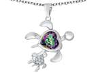 Star K Good Luck Mother and Child Turtle Pendant Necklace with Heart Shape Rainbow Mystic Quartz Style number: 311483