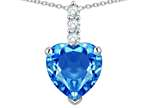Star K  8mm Heart Shaped Genuine Blue Topaz Three Stone Pendant Necklace Style number: 314033