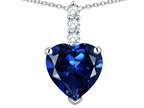 Star K  8mm Heart Shaped Created Sapphire Three Stone Pendant Necklace Style number: 314039