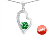Star K™ Round Simulated Emerald Heart Pendant Necklace style: 302981