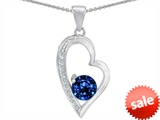 Star K™ Round Created Sapphire Heart Pendant Necklace style: 302982