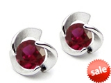 Original Star K™ Round 6mm Created Ruby Flower Earrings Studs style: 303066