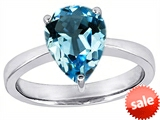 Star K™ Large 11x8 Pear Shape Solitaire Ring With Simulated Blue Topaz style: 303800