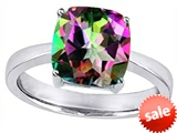 Star K™ Large 10mm Cushion Cut Solitaire Ring with Mystic Rainbow Topaz style: 303996