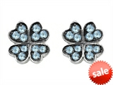 Celtic Love by Kelly Small Lucky Clover Earrings with Simulated Aquamarine style: 304181