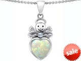 Star K™ Love Angel Pendant Necklace with 10mm Created Opal Heart style: 305458