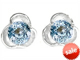 Star K™ Round Simulated Aquamarine Flower Earrings Studs style: 305526