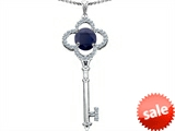 Star K™ Large Clover Shape Key To My Heart Pendant Necklace with Round 7mm Black Sapphire style: 305741