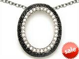 Star K™ Oval Shape Cubic Zirconia Black Star Pendant Necklace style: 305790