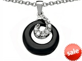 Star K™ Round Simulated Onyx Pendant Necklace style: 306099