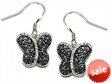 Star K™ Black and White Cubic Zirconia Butterfly Earrings style: 306283