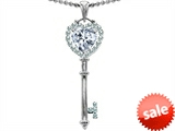Original Star K™ Key To My Heart Love Pendant With 7mm Heart Shape Genuine White Topaz style: 306312
