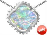 Star K™ Large Clover Pendant Necklace with 12mm Clover Cut Created Opal style: 306742