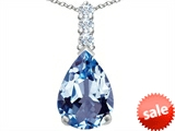 Star K™ Large 14x10mm Pear Shape Simulated Aquamarine Pendant Necklace style: 307557