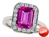 Star K™ 10x8mm Emerald Cut Created Pink Sapphire Ring style: 307807