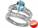 Star K™ 8x6mm Pear Shape Simulated Aquamarine Wedding Set style: 307866
